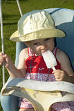 Baby girl with ice cream Royalty Free Stock Images