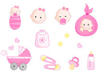 Baby girl icon set. Cute baby girl icon collection including baby face, bib, carriage, safety pins, pacifier, feeding bottle isolated on white background royalty free illustration