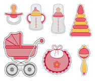 Baby girl icon set. Set of baby girl stickers isolated on white background Royalty Free Stock Photos