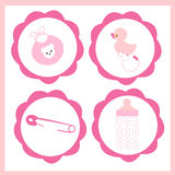 Baby girl icon set vector greeting card Stock Photos