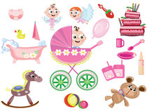 Baby girl icons Stock Image