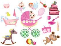 Baby Girl Icons Stock Image