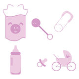 Baby girl icons Royalty Free Stock Photos