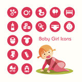 Baby girl and icons set Stock Photos