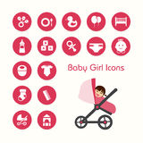 Baby girl and icons set Royalty Free Stock Photo