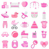 Baby girl icons set. Vector illustration. Stock Photography
