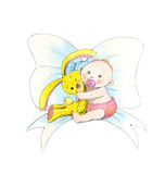 Baby girl. Illustration of nice baby with a yellow rabbit. It's suitable for cards, scrapbooking Stock Photography