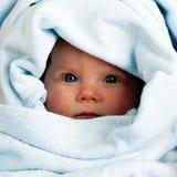 Baby girl im towel Stock Photo