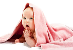 Baby girl im towel Stock Images