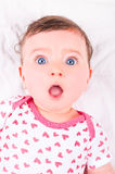 Baby girl. Image of a baby girl with funny expression Stock Images