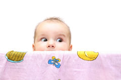 Baby girl inside playpen Stock Photo