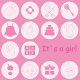 Baby girl items. Baby girl arrival announcement card.baby girl items Royalty Free Stock Photos