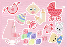 Baby girl items Stock Photo