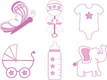 Baby Girl Items. Illustration of a group of baby girl items in pink and white Stock Images