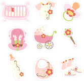 Baby girl items icons. A vector illustration of baby girl items icons Royalty Free Stock Photography