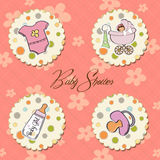 Baby girl items set Stock Photos