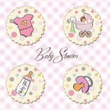 Baby girl items set Royalty Free Stock Photo