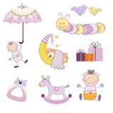 Baby girl items set isolated on white background. Illustration Royalty Free Stock Image