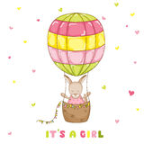 Baby Girl Kangaroo with a Balloon - Baby Shower or Arrival Card Royalty Free Stock Photography