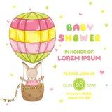 Baby Girl Kangaroo with a Balloon - Baby Shower or Arrival Card Stock Photos