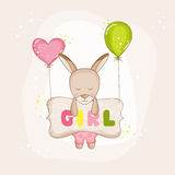 Baby Girl Kangaroo with Balloons - Baby Shower or Arrival Card. In vector Royalty Free Stock Photography