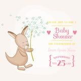 Baby Girl Kangaroo Holding Flower - Baby Shower or Arrival Card Stock Image