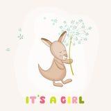 Baby Girl Kangaroo Holding Flower - Baby Shower or Arrival Card Stock Photos