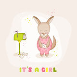 Baby Girl Kangaroo with Mail - Baby Shower or Arrival Card Royalty Free Stock Image