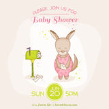 Baby Girl Kangaroo with Mail - Baby Shower or Arrival Card Royalty Free Stock Images