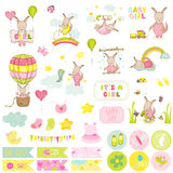 Baby Girl Kangaroo Scrapbook Set. Scrapbooking, Decorative Elements, Tags, Labels, Stickers, Notes. Baby Girl Kangaroo Scrapbook Set. Vector Scrapbooking stock illustration