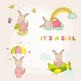 Baby Girl Kangaroo Set - Baby Shower or Arrival Card. In vector Stock Photography