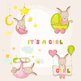 Baby Girl Kangaroo Set - for Baby Shower or Baby Arrival Cards. In vector Stock Photo