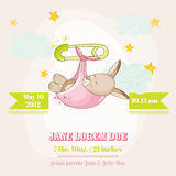Baby Girl Kangaroo Sleeping - Baby Shower or Arrival Card. In vector Royalty Free Stock Photography