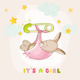 Baby Girl Kangaroo Sleeping - Baby Shower or Arrival Card. In vector Stock Images