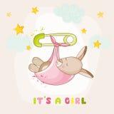 Baby Girl Kangaroo Sleeping - Baby Shower or Arrival Card Stock Images