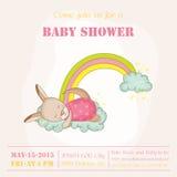 Baby Girl Kangaroo Sleeping on a Rainbow - Baby Shower or Arrival Card Royalty Free Stock Photos