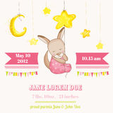 Baby Girl Kangaroo Sleeping on a Star - Baby Shower or Arrival Card. In vector Stock Images