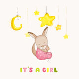 Baby Girl Kangaroo Sleeping on a Star - Baby Shower or Arrival Card. In vector Stock Photo