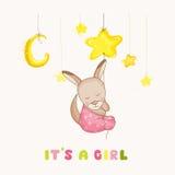 Baby Girl Kangaroo Sleeping on a Star - Baby Shower or Arrival Card Stock Photo