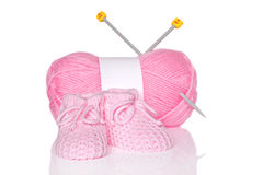 Baby girl knitted booties Stock Image