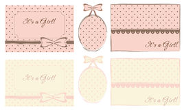 Baby girl labels, frames and tags Royalty Free Stock Photo