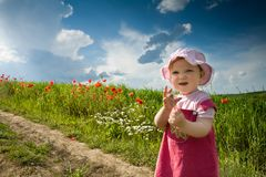 Baby-girl on a lane Royalty Free Stock Images