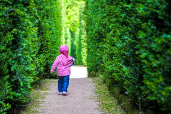 Baby girl left alone newborn walking child alone among the hedge Stock Photo