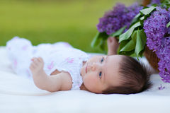 Baby girl  with lilac bouquet in basket Royalty Free Stock Image