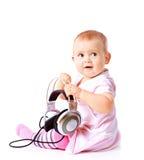 Baby Girl Listening Music Royalty Free Stock Photo