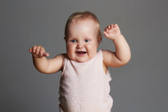 Baby girl. little funny child newborn Stock Images