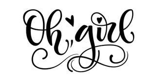 Baby girl logo quote. Baby shower hand drawn modern brush calligraphy phrase royalty free illustration
