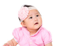 Baby girl looking up Stock Photos