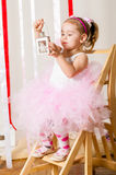 Baby girl in lush color skirt Royalty Free Stock Image