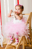 Baby girl in lush color skirt Royalty Free Stock Photos